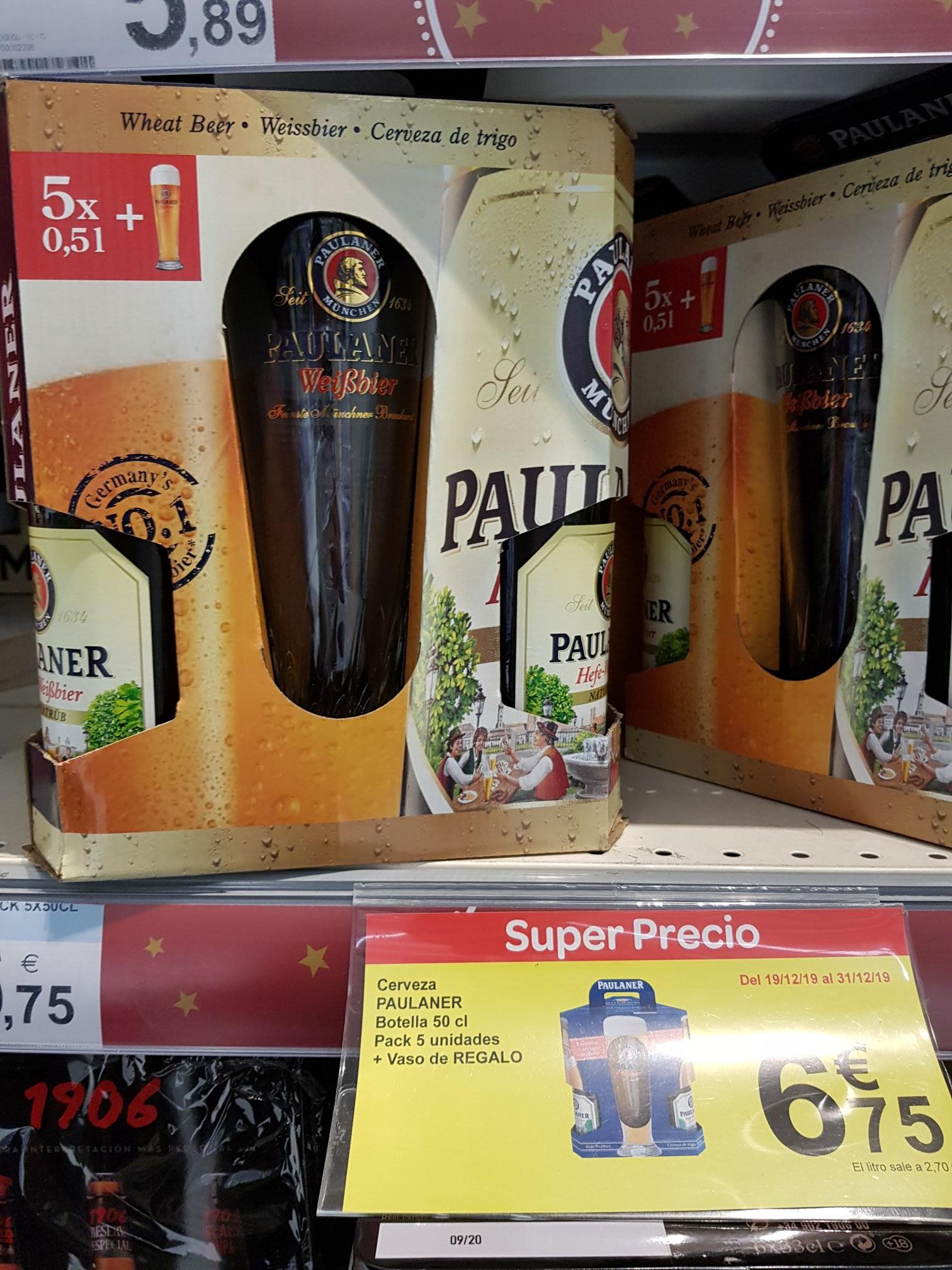 Pack 5 Cervezas Paulaner con vaso de Regalo