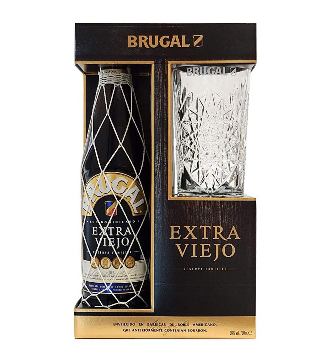 Brugal Extra Viejo 8 AÑOS + Estuche con vaso
