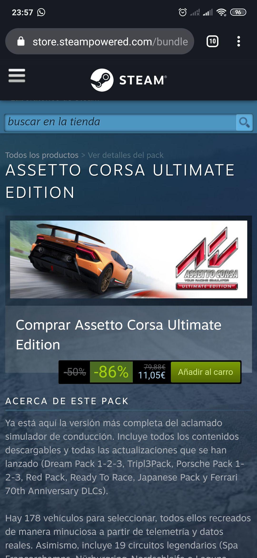 Assetto corsa ultimate edition en STEAM para comprar como regalo