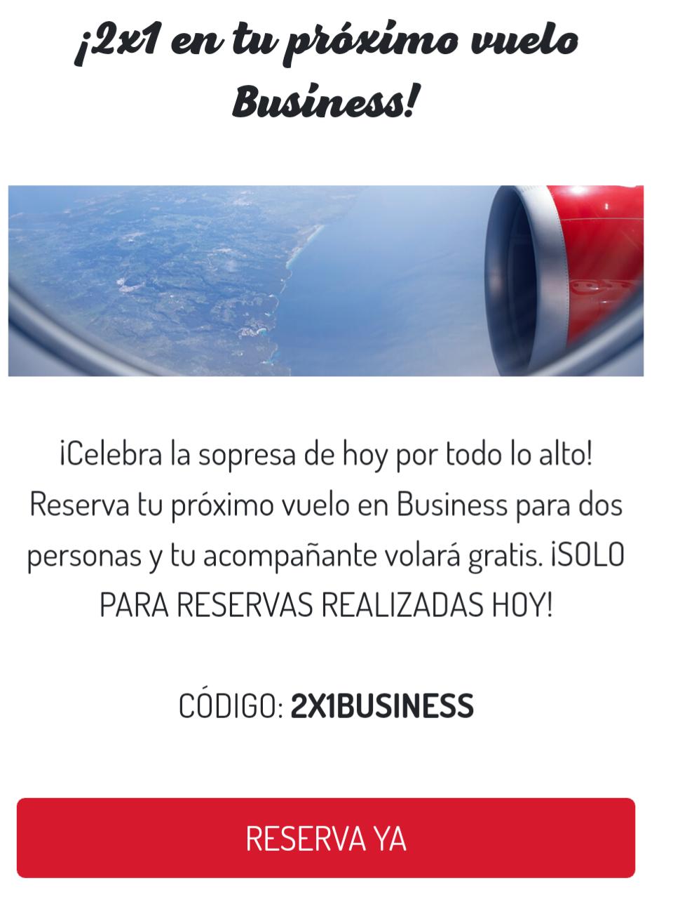 2x1 en Iberia Express clase Business