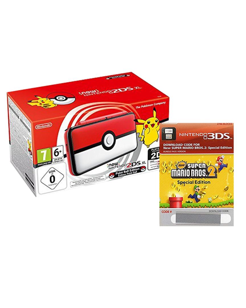 New 2ds xl edicion pokeball + new super mario bros 2 + gorro pokemon