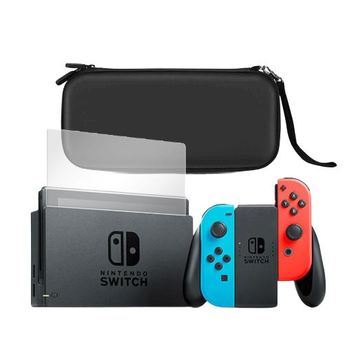 Nintendo Switch con Funda Premium y Protector de Pantalla de Vidrio Templado