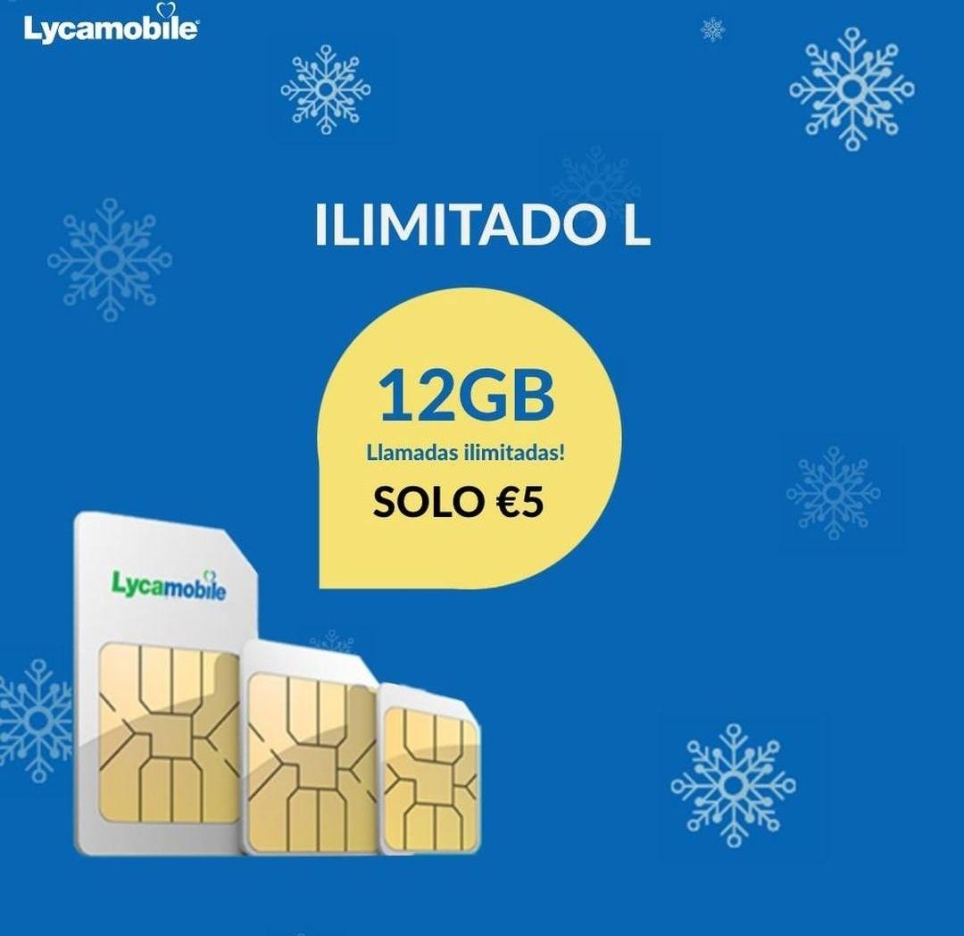 Tarifa LycaMobile Ilimitable L a 5€ (12GB)