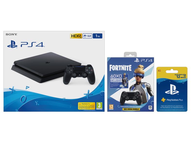 PS4 Slim 1TB con 1 Mando + Dualshock 4 V2 con Voucher Fortnite + PS Plus
