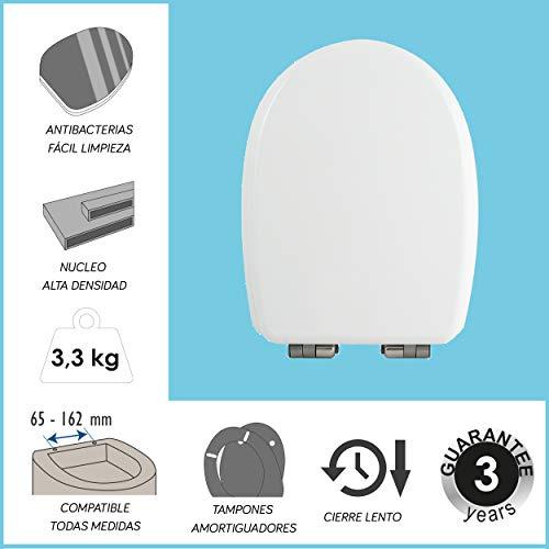 Asiento inodoro. Tapa WC blanca, Cierre Lento con Bisagras de Acero Inoxidable, Antibacterias Fácil Limpieza, Desmontaje Rápido