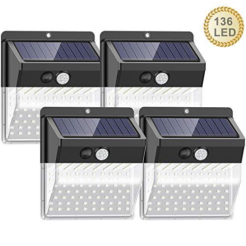 4 focos led solares de exterior con sensor de movimiento