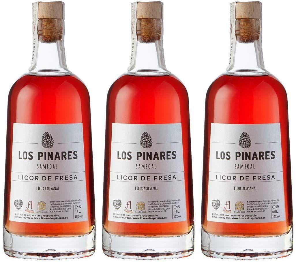 3 Botellas de Licor de Fresa Artesanal Los Pinares - 500 ml. - Total 1500 ml. (Y dos licores más)