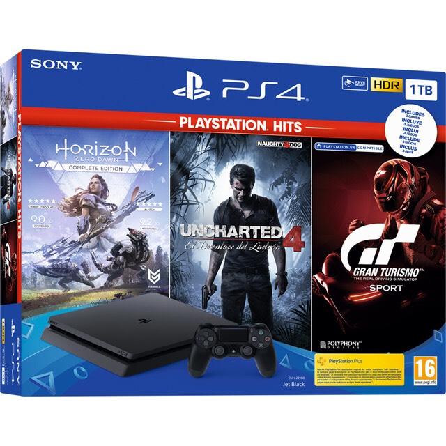 PS4 1TB chasis F + GT Sport + Horizon Zero Dawn + Uncharted 4