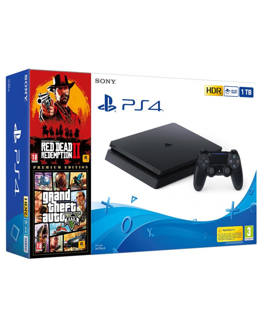 PS4 Consola Slim 1TB + 3 JUEGOS + REGALO cantimplora playstation