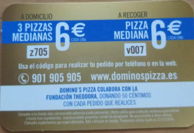 Domino's 3 Medianas por 18€