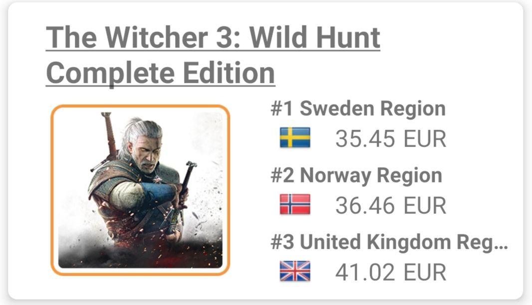 The Witcher 3 (SWITCH) a 35.45 en e-shop Suecia.