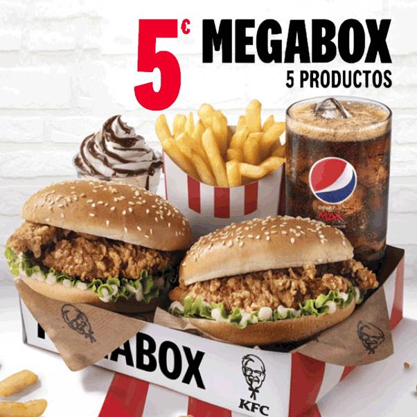 Megabox de KFC con 2 burgers por 5€