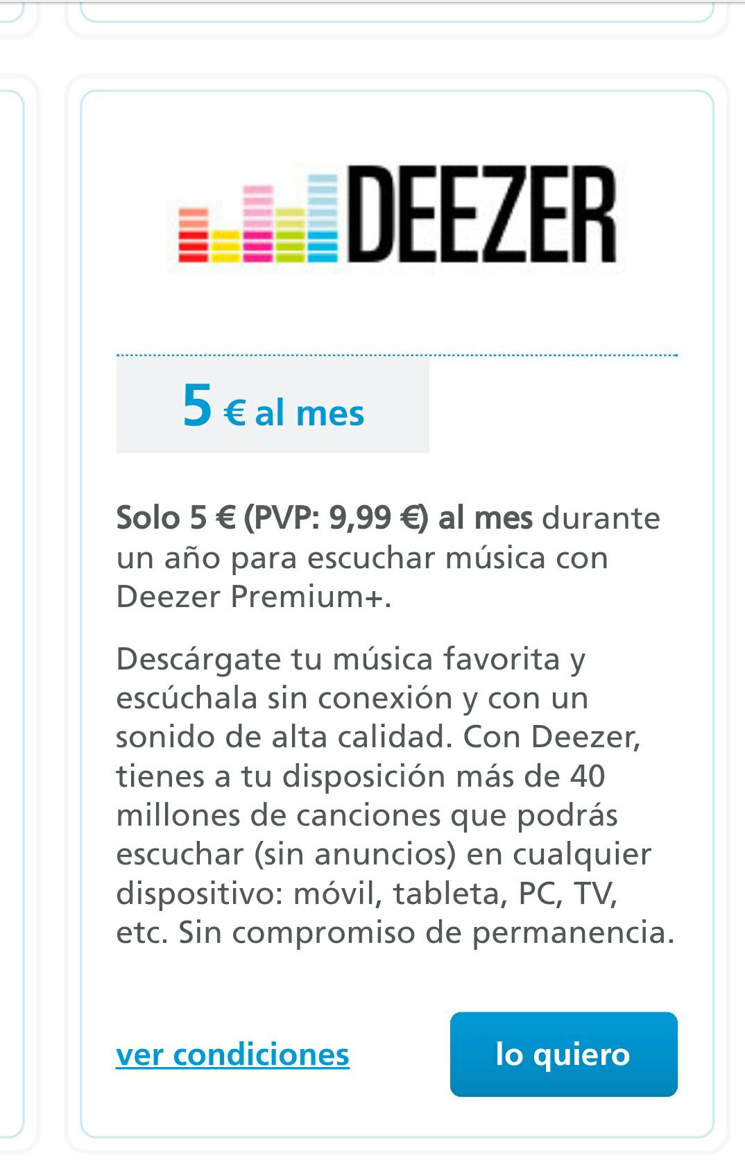 Deezer - Año de suscripción premium por sólo 5 euros/mes