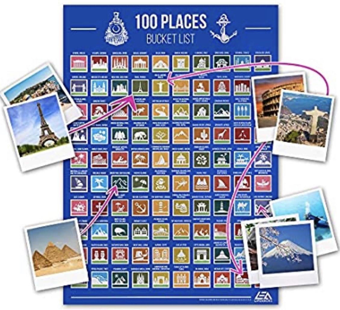 Póster de rascar 100 lugares