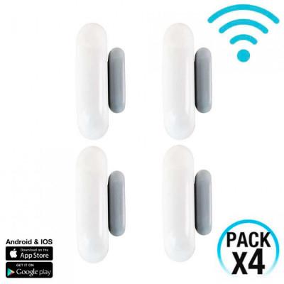 Pack 4 Sensores de Puertas y Ventanas WiFi con Aviso vía Smartphone/APP