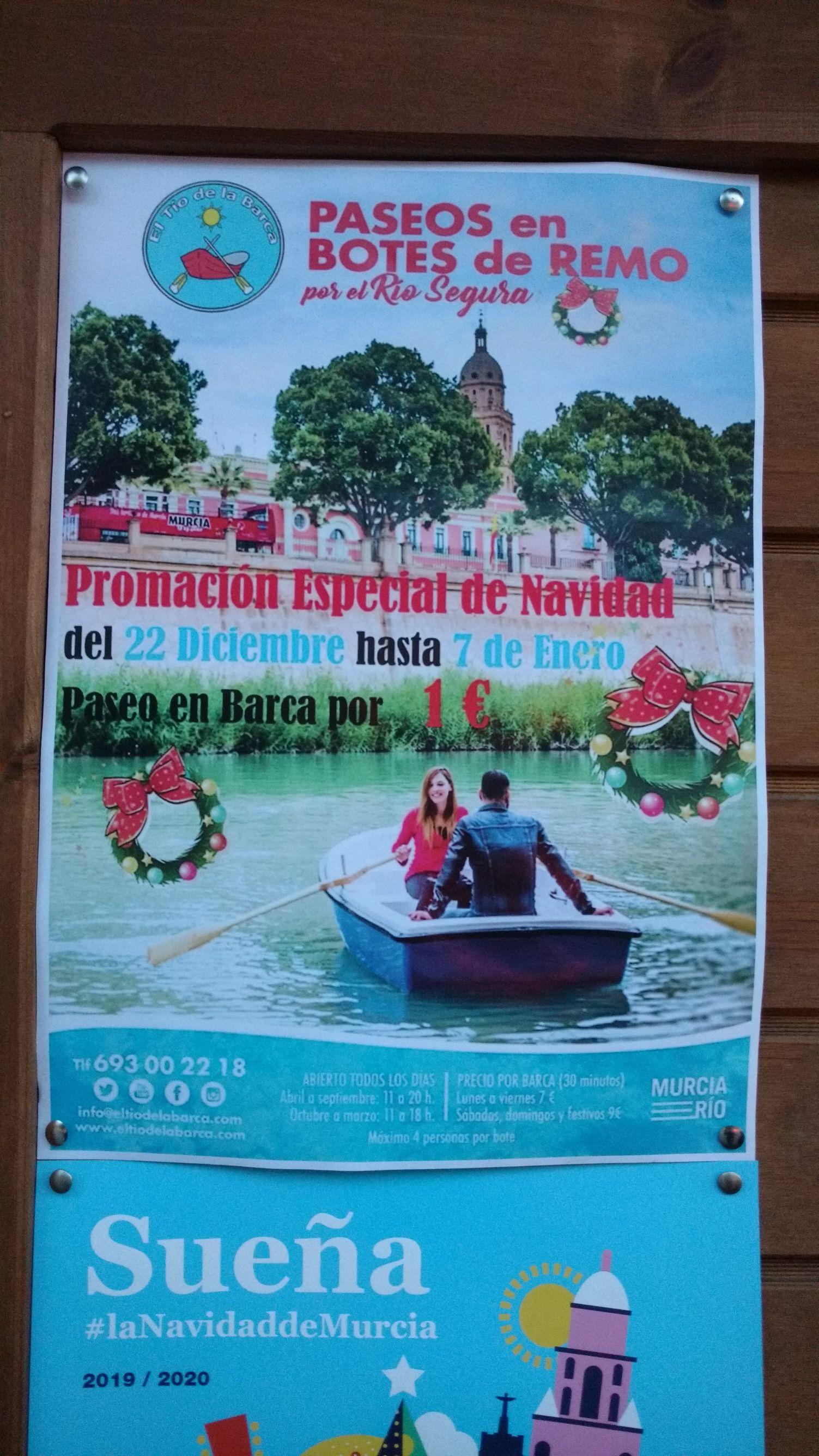 Paseo en barca por 1€ en Murcia.