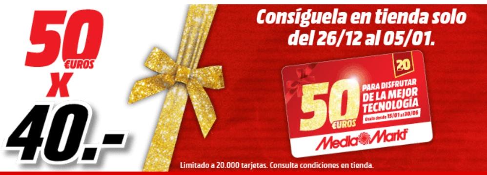 Tarjeta de 50 euros para Mediamarkt por 40 euros
