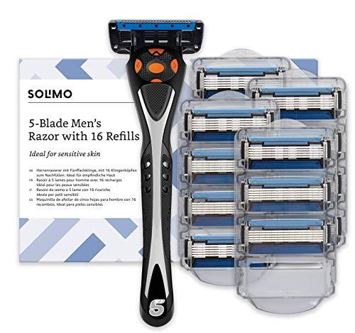 Marca Amazon- Solimo Maquinilla de afeitar de cinco hojas para hombre con 16 recambios
