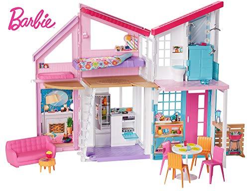 Barbie - Casa de Muñecas de dos Pisos Plegable con Muebles y Accesorios