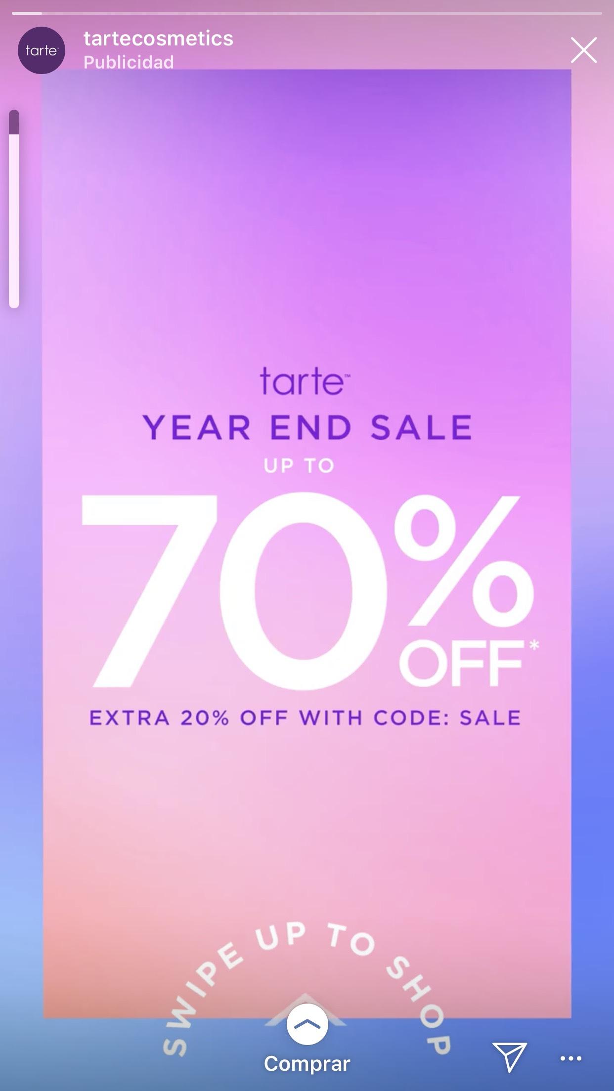 70% en Tarte + 20%