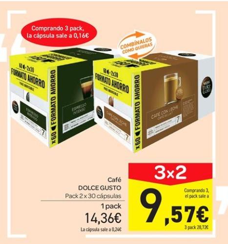 180 cápsulas Dolce Gusto por 28,7€, 20% en jamones ibéricos y 30% en colonias y estuches