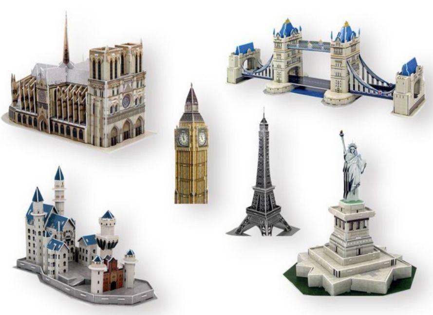 Puzzle 3D de losmonumentos más famosos del mundo.