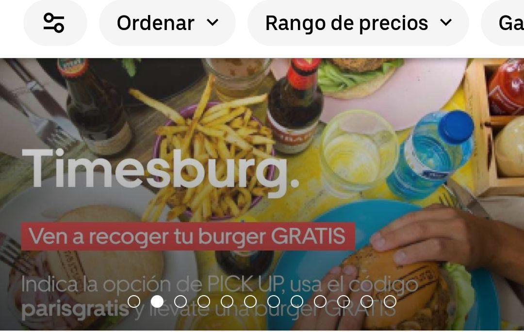 Hamburguesa gratis en Madrid con Ubereats en Timesburg