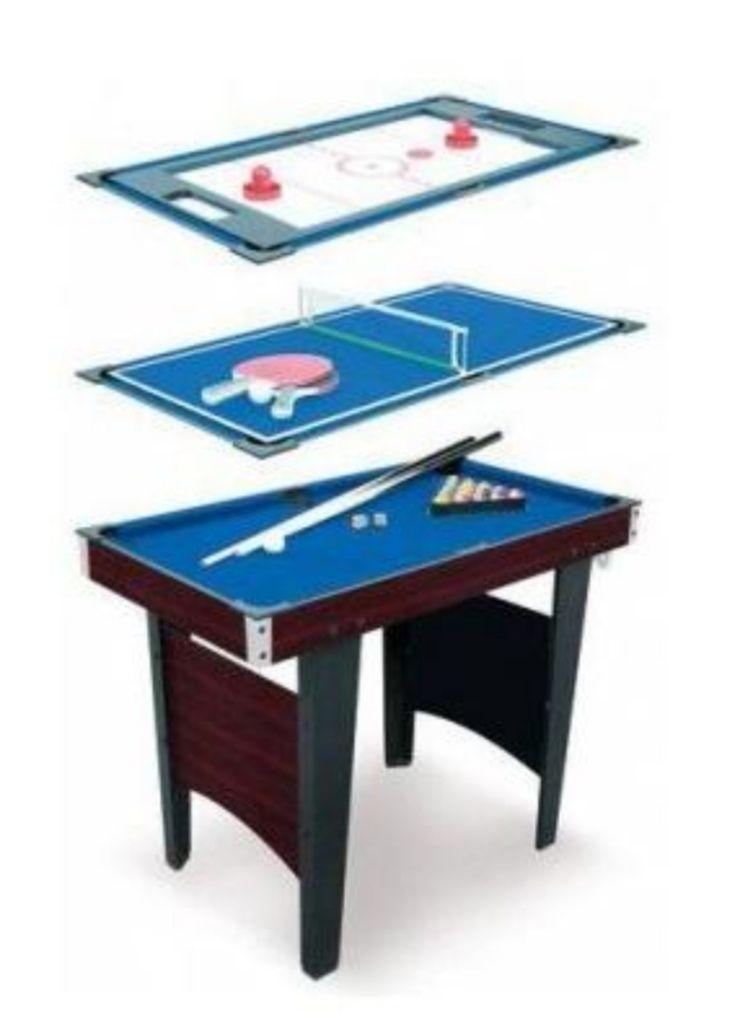 Mesa multijuegos 3 en 1.Mesa de billar, hockey y ping pong (92 cm) con los accesorios para los juegos.