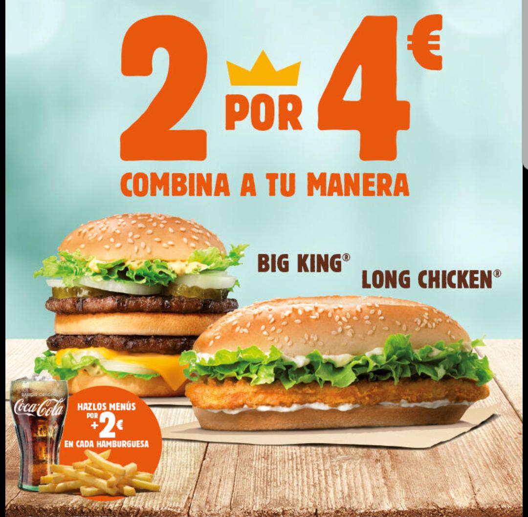 2 hamburguesas iguales o combinadas 4€