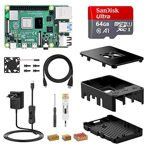 KIT completo Raspberry Pi 4-B (4 GB RAM) + mSD 64GB + caja con ventilación forzada