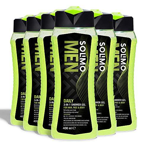 Solimo - 6 x Gel de ducha diario para hombre 3 en 1 - 2.4L