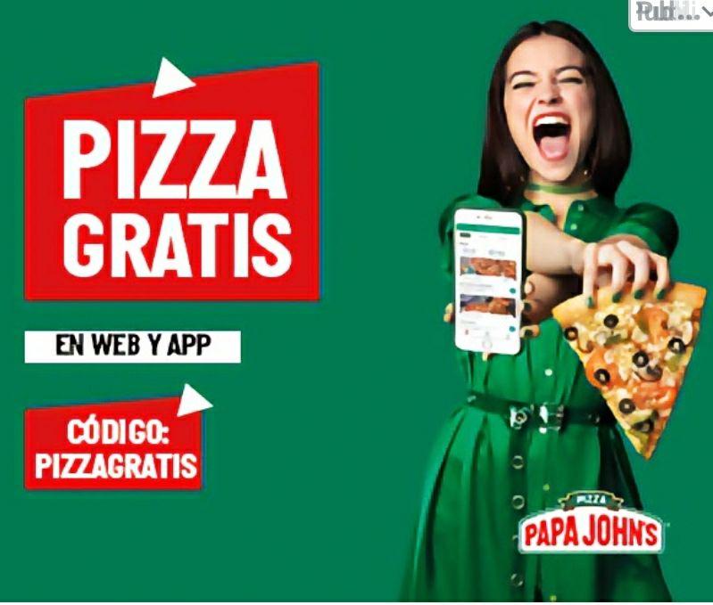 Pizza gratis en Papa Johns (mínimo 10,95€)