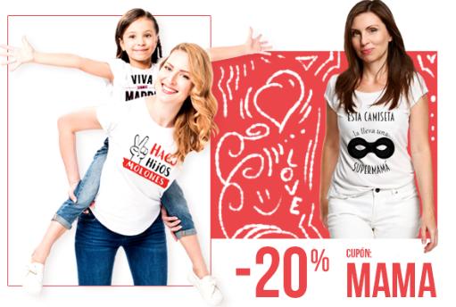 """20% Descuento en camisetas con el Cupón """"MAMA"""""""