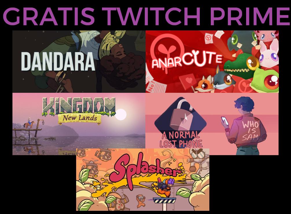 5 nuevos juegos GRATIS con Twitch Prime [Dandara,Anarcute, Kingdom, Splasher, A Normal lost phone]