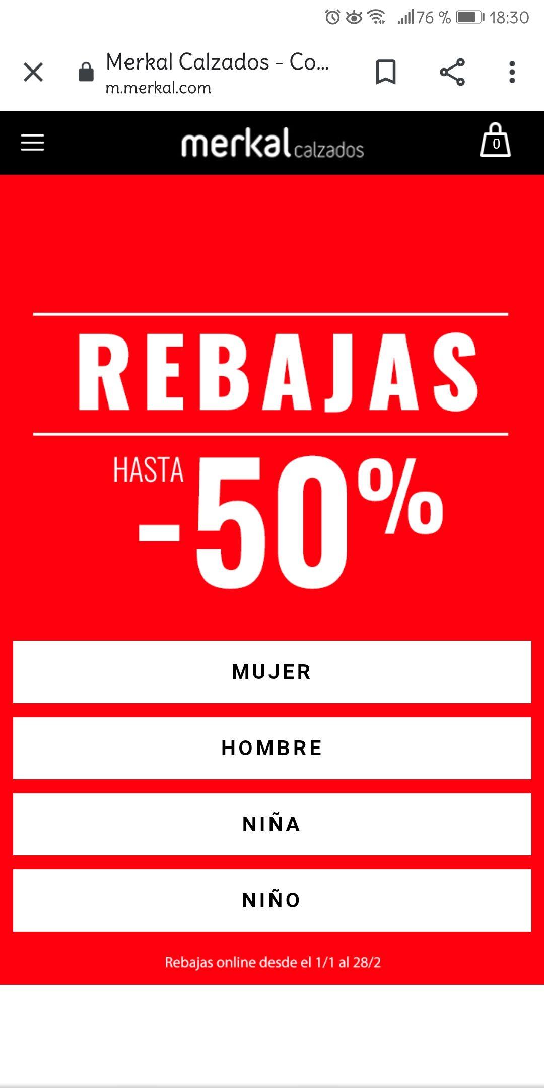 50% de descuento en zapatos Merkal