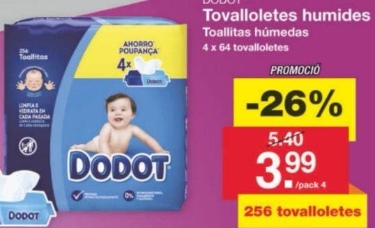 Toallitas humedas DODOT.( 4 paquetes de 64 = 256 toallitas.)