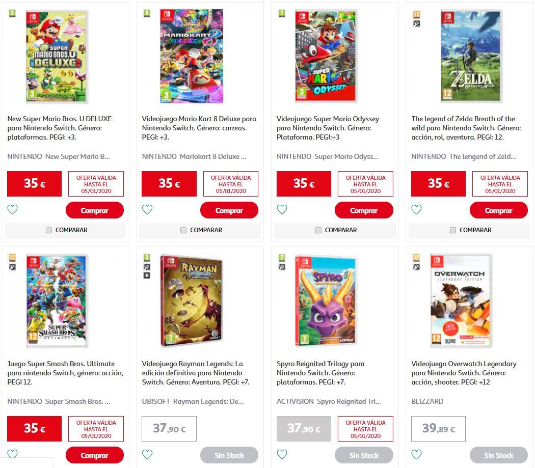Varios juegos de Nintendo-Nintendo (para la Switch) a buen precio en Alcampo Nalon