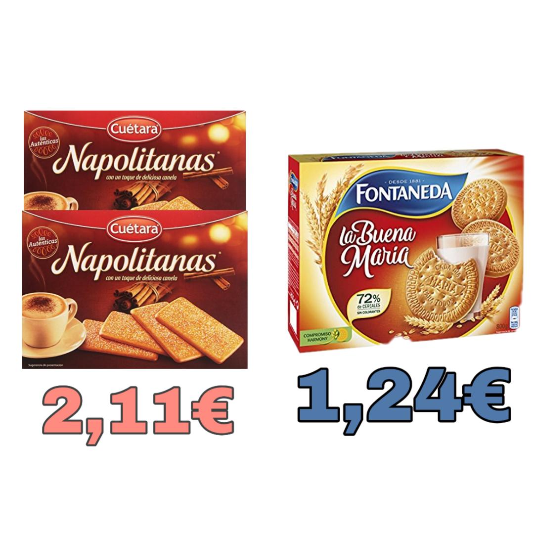 Galletas Fontaneda 800 g por 1,24€ y 2x Napolitanas Cuétara 500g por 2,11€