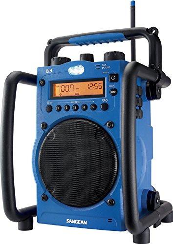 Sangean U-3 - Radio estéreo AM / FM (impermeable, antena, despertador, altavoces, auriculares)