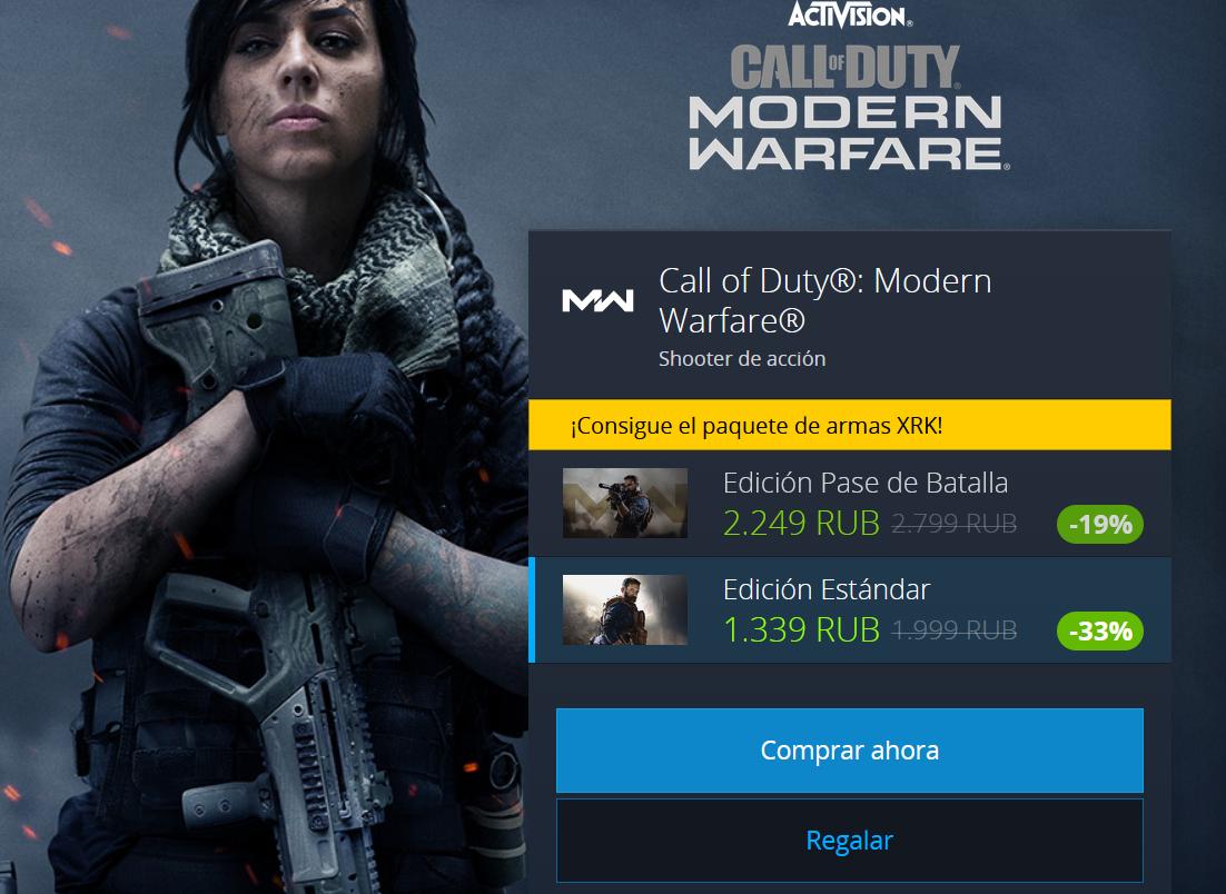 COD Modern Warfare 19€ y Black Ops 11€ con VPN Rusa