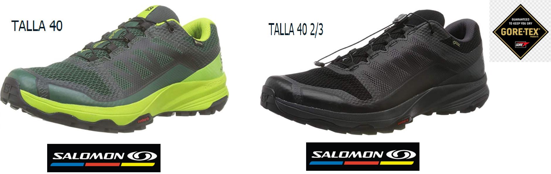 (TALLAS - NEGRO 40 2/3 - VERDE 40) - Salomon XA Discovery Gore-tex, Zapatillas de Trail Running para Hombre