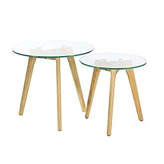 Pack de dos mesas auxiliares de cristal (Reaco)