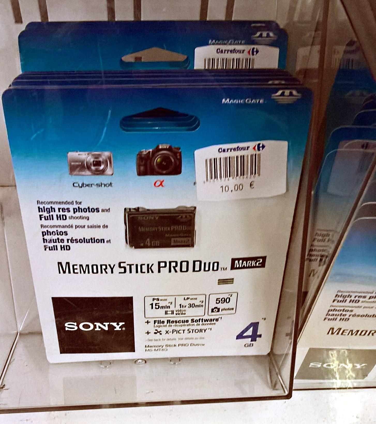 Memory Stick Pro Duo 4Gb (Outlet Carrefour de Terrassa)