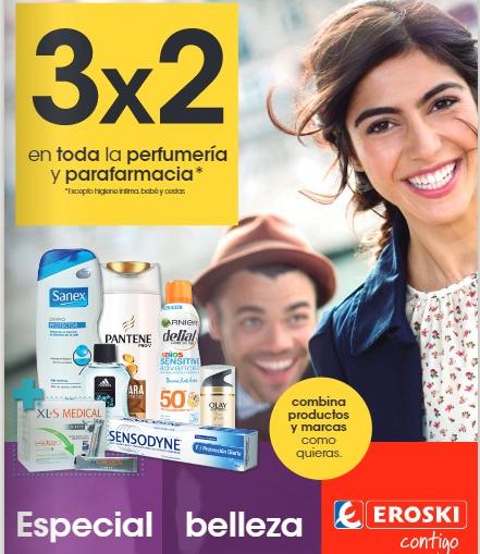 3x2 en toda la perfumería y parafarmacia en Eroski (excluye higiene íntima, bebé y cestas)
