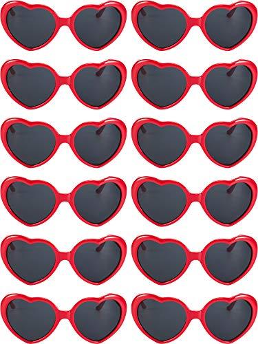 12 Piezas de Gafas de Sol en Forma de Corazón