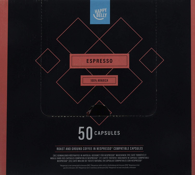 Marca Amazon - Happy Belly Espresso compatibles con Nespresso, 4 x 50 cápsulas