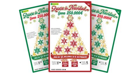 ONCE, 2€ gratis jugando un rasca de Navidad de 5€ los días 5 y 6.