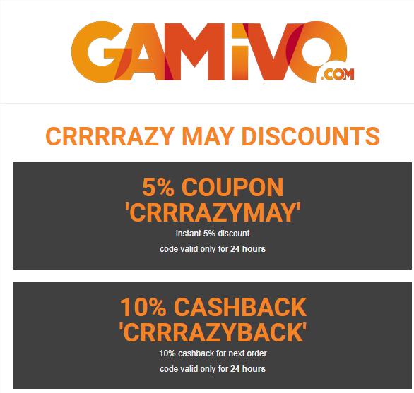 5% de descuento o 10% de cashback en GAMIVO solo hoy.