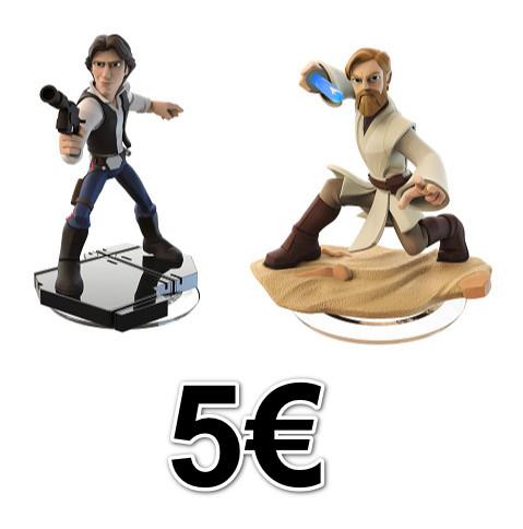 Figuras de Disney Inifinity 3.0 de Han Solo u Obi Wan por sólo 5€ o Pack de Rey con Finn por 10€