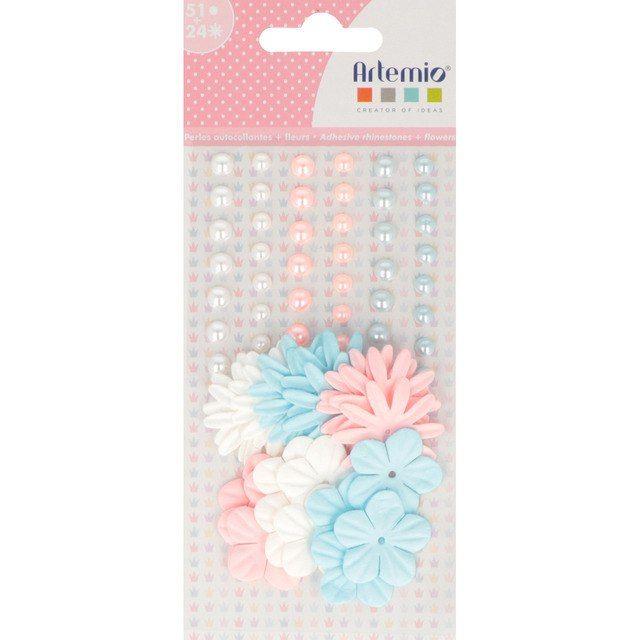 50 perlas autoadhesivas + flores de papel por 0,50€